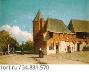 Weissenbruch Jan - Vue De La Ville - Dutch School - 19th Century. Редакционное фото, фотограф Artepics / age Fotostock / Фотобанк Лори