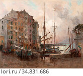 Wolter Hendrik Jan - in De Haven Van Camogli 2 - Dutch School - 19th... Редакционное фото, фотограф Artepics / age Fotostock / Фотобанк Лори