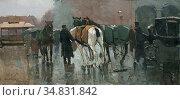 Zwart Willem De - Inspannen Van De Paarden 2 (Rainy Weather on the... Редакционное фото, фотограф Artepics / age Fotostock / Фотобанк Лори