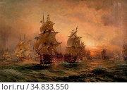 Moore Claude Thomas Stanfield - the Evening of Trafalgar - British... Редакционное фото, фотограф Artepics / age Fotostock / Фотобанк Лори