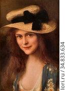 Lynch Albert - Portrait De Jeune Fille Au Chapeau De Paille - French... Стоковое фото, фотограф Artepics / age Fotostock / Фотобанк Лори