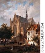 Hove Bart Van - Het Uitgaan Van De Kerk in Leiden - Dutch School - ... Редакционное фото, фотограф Artepics / age Fotostock / Фотобанк Лори