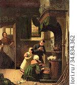 Hove Bart Van - Dinner Time - Dutch School - 19th Century. Редакционное фото, фотограф Artepics / age Fotostock / Фотобанк Лори