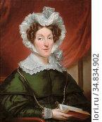 Kruseman Jan Adam - Lady in Green - Dutch School - 19th Century. Редакционное фото, фотограф Artepics / age Fotostock / Фотобанк Лори