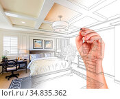 Hand Drawing Custom Master Bedroom Design With Gradation Revealing... Стоковое фото, фотограф Zoonar.com/Andy Dean Photography / easy Fotostock / Фотобанк Лори