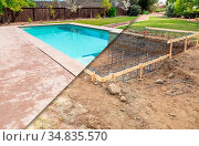 Before and After Pool Build Construction Site. Стоковое фото, фотограф Zoonar.com/Andy Dean Photography / easy Fotostock / Фотобанк Лори