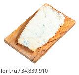 Local italian Gorgonzola soft blue cheese on olive wood cutting board... Стоковое фото, фотограф Zoonar.com/Valery Voennyy / easy Fotostock / Фотобанк Лори