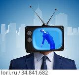 Man with television head in tv addiction concept. Стоковое фото, фотограф Elnur / Фотобанк Лори