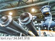 System of shutoff valves and metal pipelines. Стоковое фото, фотограф Андрей Радченко / Фотобанк Лори