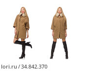 Blond hair girl in coat isolated on white. Стоковое фото, фотограф Elnur / Фотобанк Лори