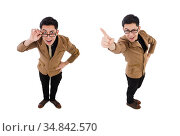 Young man in brown jacket isolated on white. Стоковое фото, фотограф Elnur / Фотобанк Лори