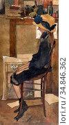 Bruycker Jules De - Portret Van Claire Van Autryve in Het Atelier... Стоковое фото, фотограф Artepics / age Fotostock / Фотобанк Лори