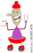 Cartoon Illustration of Funny Robot Fantasy or Science Fiction Character... Стоковое фото, фотограф Zoonar.com/Igor Zakowski / easy Fotostock / Фотобанк Лори