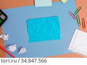 Striped paperboard notebook cardboard office study supplies chart... Стоковое фото, фотограф Zoonar.com/Artur Szczybylo / easy Fotostock / Фотобанк Лори