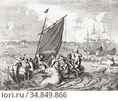 Walrus hunters in the 16th century. The picture depicts an incident... (2019 год). Редакционное фото, фотограф Classic Vision / age Fotostock / Фотобанк Лори