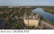 Aerial orbiting around medieval fort in Soroca, Republic of Moldova. Стоковое видео, видеограф Сергей Старуш / Фотобанк Лори