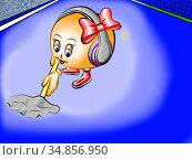 Теннисный шарик убирается. Стоковая иллюстрация, иллюстратор Александр Княжецкий / Фотобанк Лори