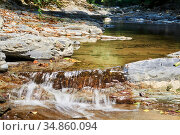 Cascade of rapids on a quiet mountain river in a shady canyon. Стоковое фото, фотограф Евгений Харитонов / Фотобанк Лори