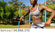 Female athlete exercising with weight barbell the park 4k. Стоковое видео, агентство Wavebreak Media / Фотобанк Лори