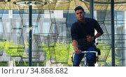 Man riding bicycle on street 4k. Стоковое видео, агентство Wavebreak Media / Фотобанк Лори