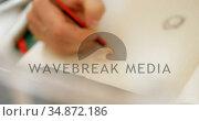 Jewelry designer sketching on white paper 4k. Стоковое видео, агентство Wavebreak Media / Фотобанк Лори