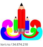 Карандаш в виде ракеты. Стоковая иллюстрация, иллюстратор Александр Княжецкий / Фотобанк Лори
