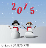 Snowman and woman with hanging 2015. Стоковое фото, агентство Wavebreak Media / Фотобанк Лори