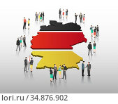 Business people vector with german flag and country outline. Стоковое фото, агентство Wavebreak Media / Фотобанк Лори
