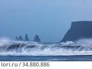 The Reynisdrangar rock formation, Vik, Iceland. October 2017. Стоковое фото, фотограф Espen Bergersen / Nature Picture Library / Фотобанк Лори