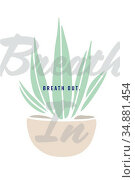 Greeting card with plant and breath out text. Стоковое фото, агентство Wavebreak Media / Фотобанк Лори