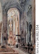 Alt Rudolf Von - Die Franziskanerkirche in Salzburg - Austrian School... Редакционное фото, фотограф Artepics / age Fotostock / Фотобанк Лори