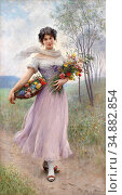 Blaas Eugene De - Girl in a Lilac-Coloured Dress with Bouquet of ... Редакционное фото, фотограф Artepics / age Fotostock / Фотобанк Лори