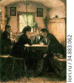 Defregger Franz Von - Die Schachpartie - Austrian School - 19th Century... Редакционное фото, фотограф Artepics / age Fotostock / Фотобанк Лори