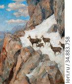 Engl Hugo - Chamois in the High Mountains - Austrian School - 19th... Редакционное фото, фотограф Artepics / age Fotostock / Фотобанк Лори