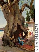 Ernst Rudolf - Cobbler in the Shade of a Baobab Tree - Austrian School... Редакционное фото, фотограф Artepics / age Fotostock / Фотобанк Лори