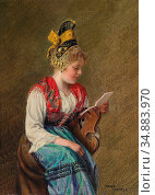 Hamza Hans - Girl with Golden Bonnet Reading a Letter - Austrian ... Редакционное фото, фотограф Artepics / age Fotostock / Фотобанк Лори