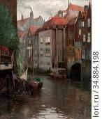Kaufmann Adolf - Boote in Einer Gracht - Austrian School - 19th Century... Редакционное фото, фотограф Artepics / age Fotostock / Фотобанк Лори