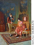 Priechenfried Alois Heinrich - a Young Couple in the Salon - Austrian... Редакционное фото, фотограф Artepics / age Fotostock / Фотобанк Лори