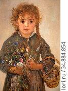 Romako Anton - Meisje Met Veldbloemen - Austrian School - 19th Century... Редакционное фото, фотограф Artepics / age Fotostock / Фотобанк Лори
