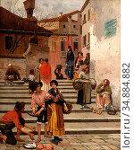 Ruben Franz Leo - Venezianisches Treiben - Austrian School - 19th... Редакционное фото, фотограф Artepics / age Fotostock / Фотобанк Лори