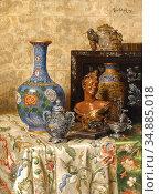 Schodl Max - Still Life with Asian Vases - Austrian School - 19th... Редакционное фото, фотограф Artepics / age Fotostock / Фотобанк Лори