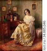 Schuster Karl Maria - Dame Mit Buch - Austrian School - 19th Century. Редакционное фото, фотограф Artepics / age Fotostock / Фотобанк Лори