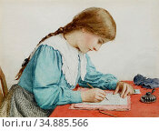 Anker Albert - Brief Schreibendes Mädchen 2 - Swiss School - 19th... Редакционное фото, фотограф Artepics / age Fotostock / Фотобанк Лори