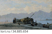 Bocion François - View of Lake Geneva - Swiss School - 19th Century. Редакционное фото, фотограф Artepics / age Fotostock / Фотобанк Лори