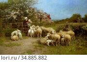Chialiva Luigi - Food for the Small - Swiss School - 19th Century. Редакционное фото, фотограф Artepics / age Fotostock / Фотобанк Лори