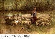 Chialiva Luigi - a Young Shepherdess - Swiss School - 19th Century. Редакционное фото, фотограф Artepics / age Fotostock / Фотобанк Лори