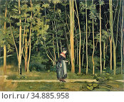 Hodler Ferdinand - a Walk Along a Forest Trail - Swiss School - 19th... Редакционное фото, фотограф Artepics / age Fotostock / Фотобанк Лори