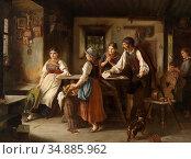 Hauser Rudolf Eduard - Der Brief - Swiss School - 19th Century. Редакционное фото, фотограф Artepics / age Fotostock / Фотобанк Лори