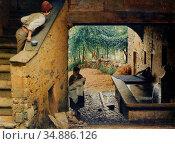 Monteverde Luigi - the New Arrival - Swiss School - 19th Century. Редакционное фото, фотограф Artepics / age Fotostock / Фотобанк Лори