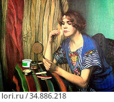 Vallotton Felix - Femme Avec Un Poudrier - Swiss School - 19th Century... Редакционное фото, фотограф Artepics / age Fotostock / Фотобанк Лори